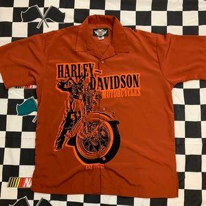 Harley Davidson Full Button Polyester Shirt Large